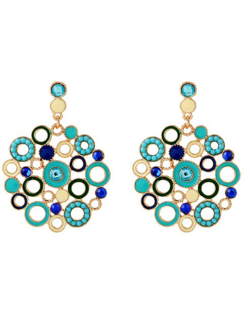new Alloy Rhinestone Circle Drop Earrings - BLUE  Mobile