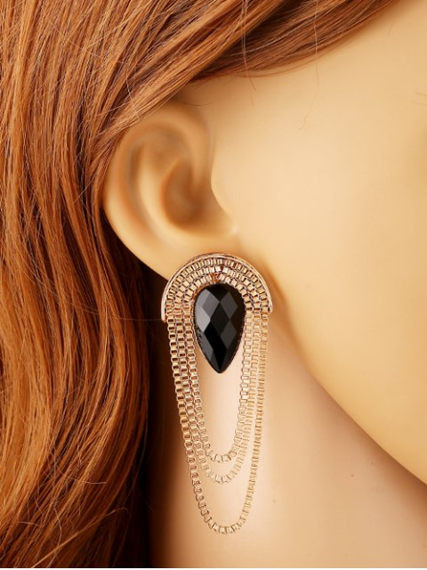 outfit Faux Gem Drop Tassel Chains Earrings - BLACK  Mobile