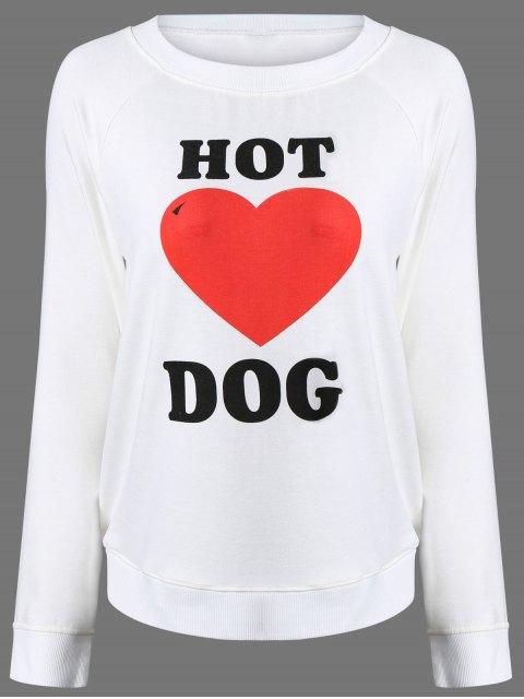 hot Heart Print Raglan Sleeve Sweatshirt - WHITE XL Mobile