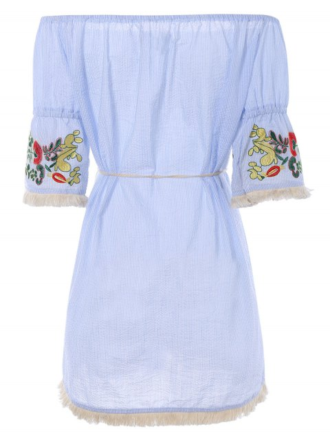 sale Off The Shoulder Striped Embroidered Mini Dress - LIGHT BLUE S Mobile
