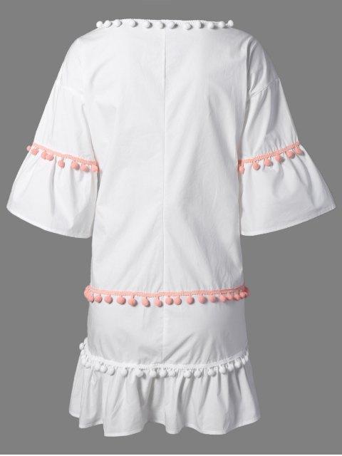 ladies Pom Pom Embroidery V Neck 3/4 Sleeve Dress - WHITE L Mobile
