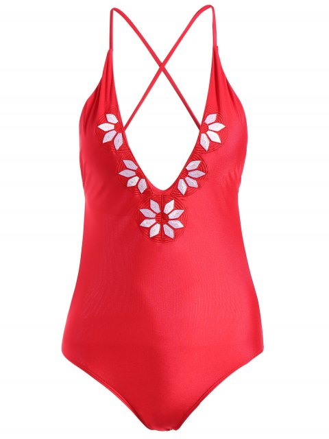 fashion Embroidery Cami One-Piece Swimwear - RED S Mobile