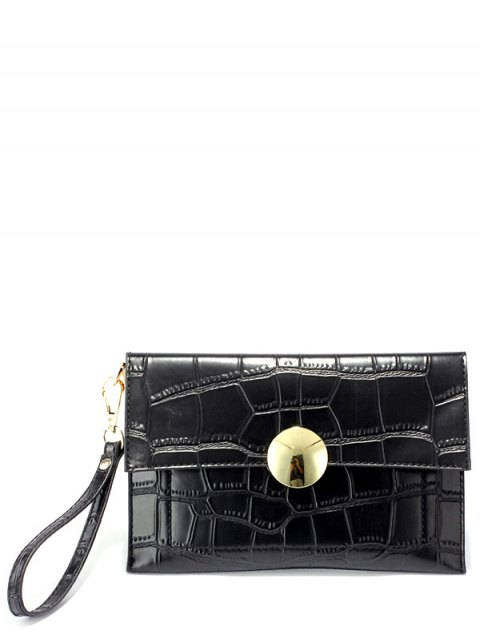 lady Metal Crocodile Embossed Clutch Bag - BLACK  Mobile