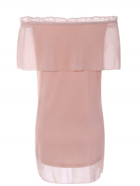affordable Ruffles Off The Shoulder Chiffon Dress - PINK L Mobile