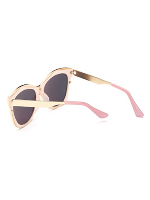 online Double Rims Mirrored Irregular Sunglasses - PINK  Mobile