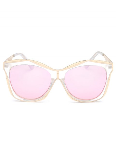 outfit Double Rims Mirrored Irregular Sunglasses - SHALLOW PINK  Mobile