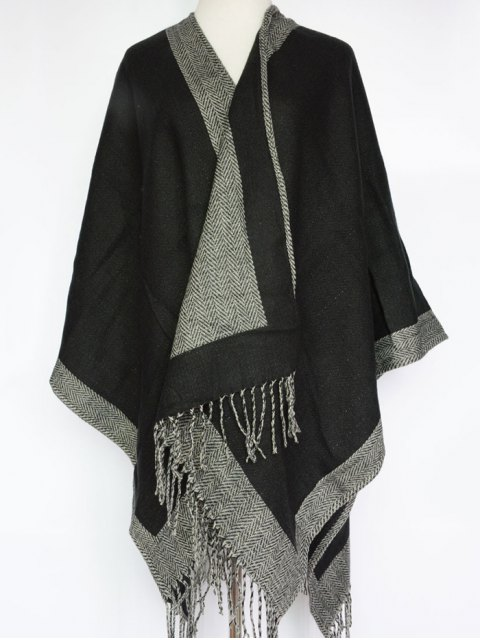 fancy Herringbone Tassel Shawl Pashmina -   Mobile