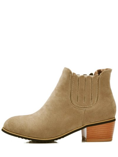 Chunky Heel Elastic Band Ankle Boots - CAMEL 37 Mobile