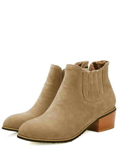 Chunky Heel Elastic Band Ankle Boots - CAMEL 38 Mobile
