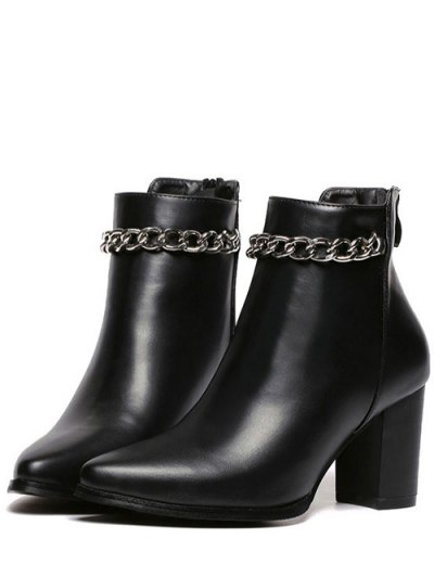 Pointed Toe Chains Chunky Heel Ankle Boots - BLACK 39 Mobile