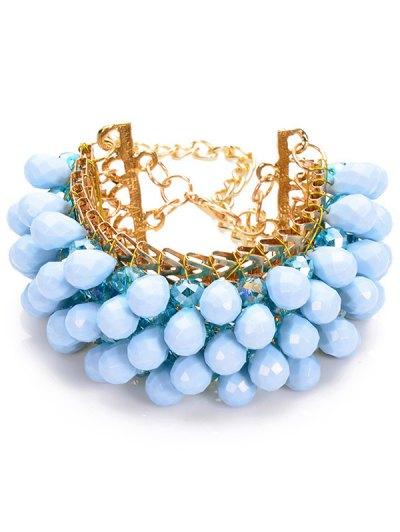 Faux Crystal Beaded Water Drop Bracelet - BLUE  Mobile
