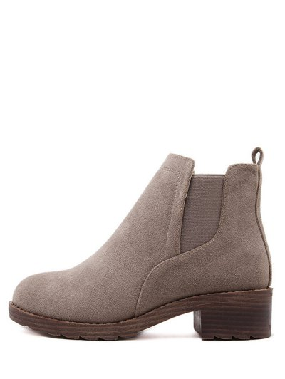 Flock Round Toe Elastic Band Ankle Boots - CAMEL 39 Mobile