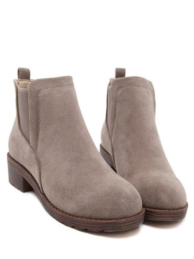Flock Round Toe Elastic Band Ankle Boots - CAMEL 38 Mobile