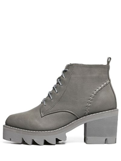 Stitching Platform Tie Up Ankle Boots - GRAY 37 Mobile