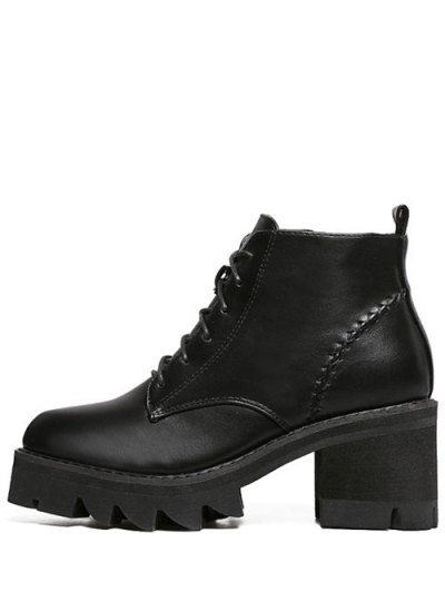 Stitching Platform Tie Up Ankle Boots - BLACK 39 Mobile