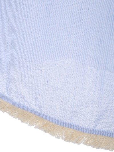 Off The Shoulder Striped Embroidered Mini Dress - LIGHT BLUE L Mobile