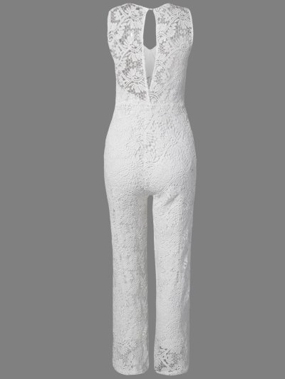 Solid Color Plunging Neck Sleeveless Lace Jumpsuit - WHITE XL Mobile