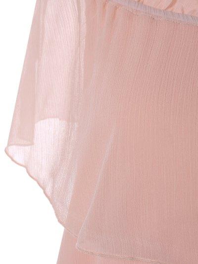 Ruffles Off The Shoulder Chiffon Dress - PINK XL Mobile