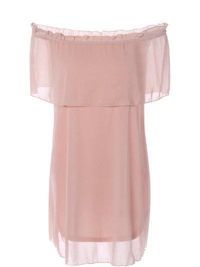 Ruffles Off The Shoulder Chiffon Dress - PINK L Mobile