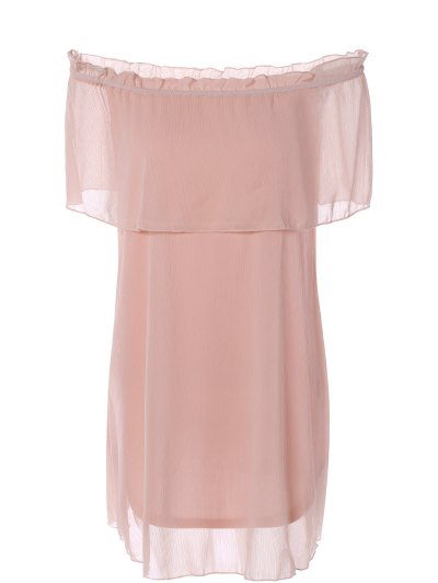 Ruffles Off The Shoulder Chiffon Dress - PINK M Mobile