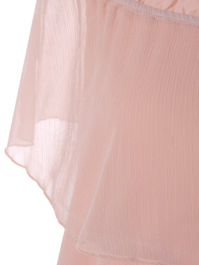 Ruffles Off The Shoulder Chiffon Dress - PINK S Mobile