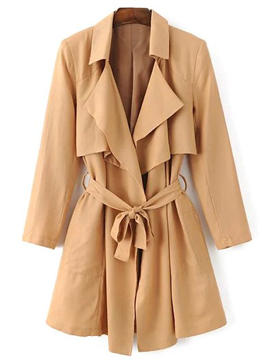 Belted Cape Lapel Neck Long Sleeve Trench Coat - Khaki