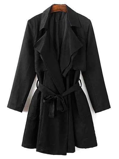 Belted Cape Lapel Neck Long Sleeve Trench Coat - Black