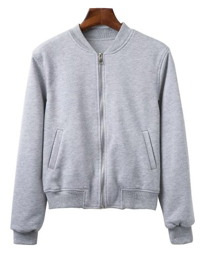Zip Up Fitting Stand Neck Long Sleeve Jacket - GRAY M Mobile