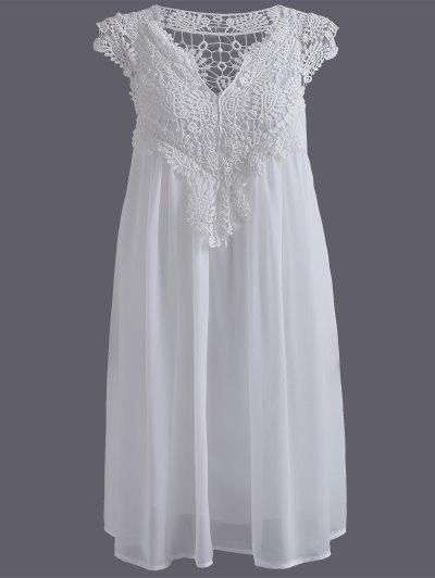 Mini Vestido Empalmado Encaje - Blanco