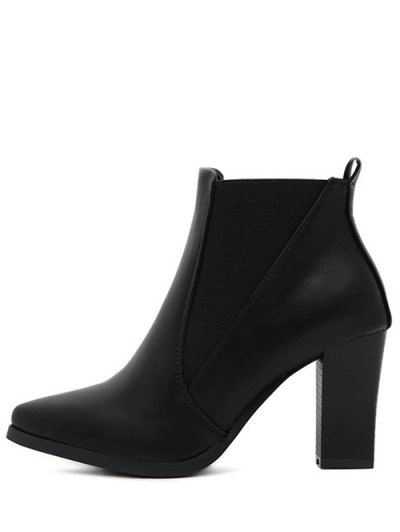 Pointed Toe Chunky Heel Elastic Ankle Boots - BLACK 37 Mobile