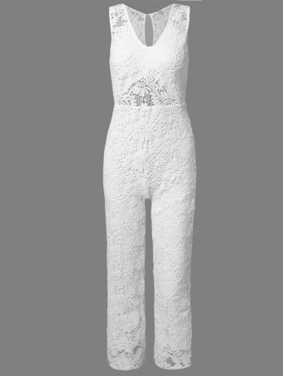 Solid Color Plunging Neck Sleeveless Lace Jumpsuit - WHITE S Mobile