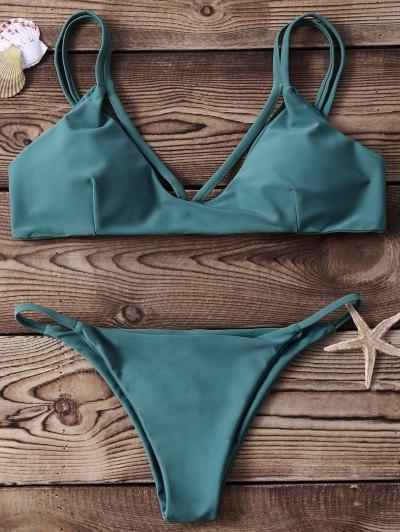 High-Cut Two Piece Bikini Set - Green