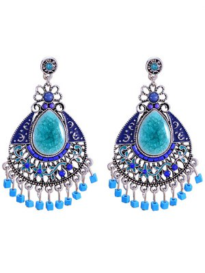 Faux Gem Boho Jewelry Floral Earrings - Blue