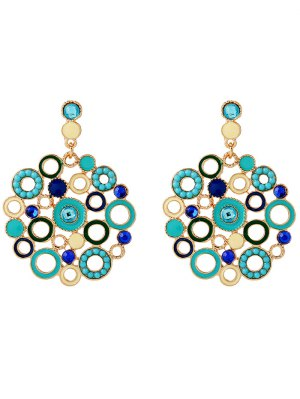 Alloy Rhinestone Circle Drop Earrings - Blue