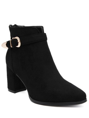 Buckle Zipper Flock Ankle Boots - Black