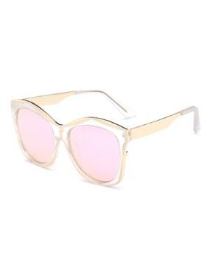 Double Rims Mirrored Irregular Sunglasses - Shallow Pink
