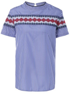 Ethnic Embroidery Short Sleeve Striped Blouse - Stripe