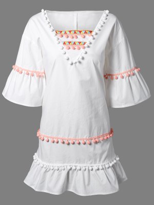 Pom Pom Embroidery V Neck 3/4 Sleeve Dress - White