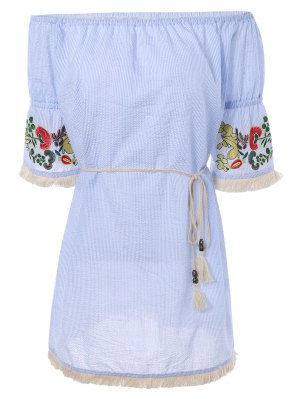 Off The Shoulder Striped Embroidered Mini Dress - Light Blue