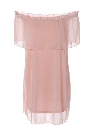 Ruffles Off The Shoulder Chiffon Dress - Pink