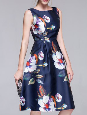Flared Vintage Dress - Purplish Blue