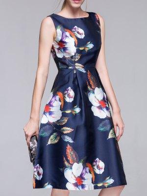 Flared Vintage Dress - Purplish Blue
