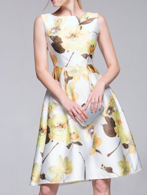 Sleeveless Flared Floral Dress - White