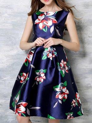 Sleeveless Printed Midi Dress - Blue