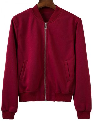 Zip Up Fitting Stand Neck Long Sleeve Jacket - Wine Red