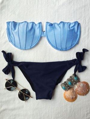 Acolchada Sin Tirantes Del Bikini Set - Azul