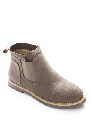 Flat Heel Elastic Band Suede Ankle Boots - Camel