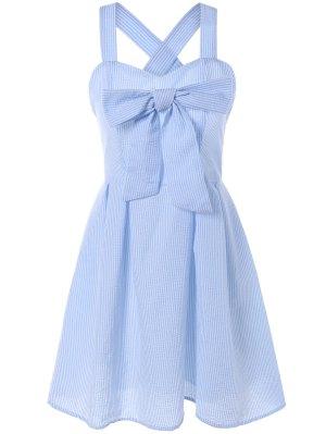 Striped Bowknot Straps Dress - Light Blue