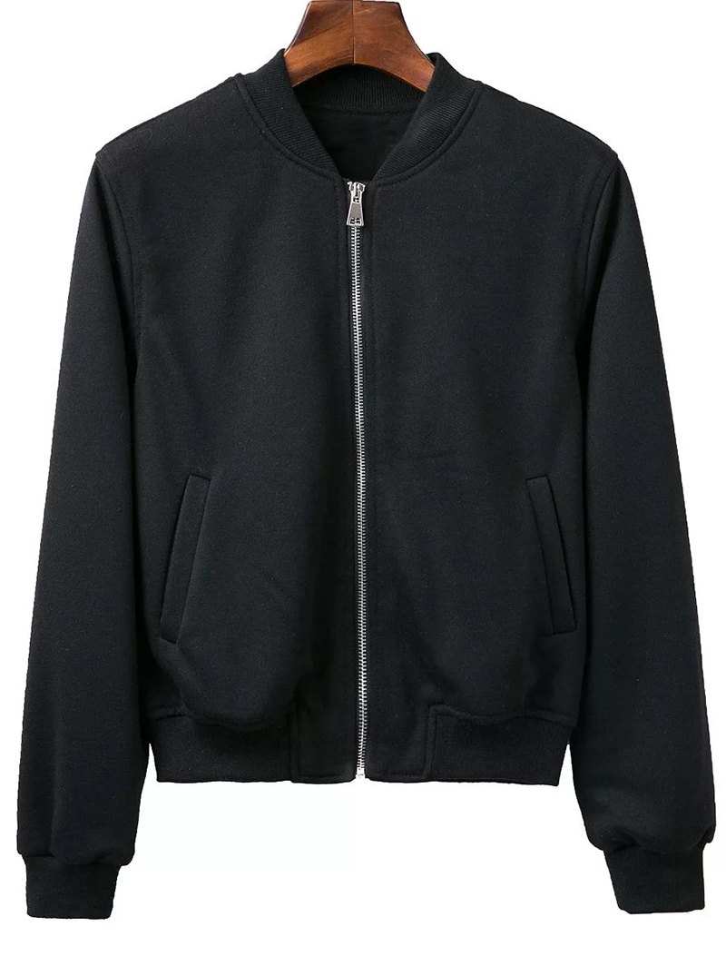Long Sleeve Stand Neck Zip Up Fitting Jacket