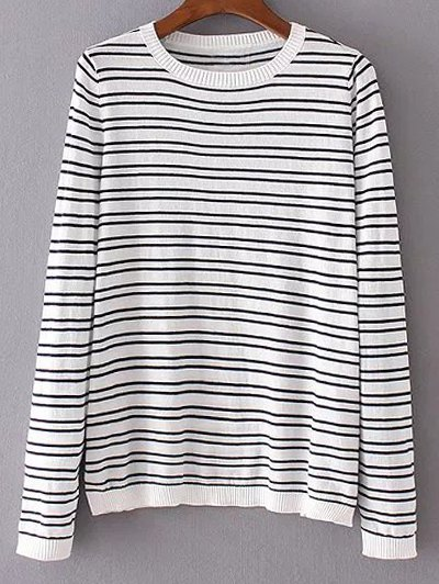 Round Neck Long Sleeve Stripe Patched Knitwear